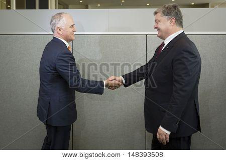 Australian Prime Minister Malcolm Turnbull And Petro Poroshenko