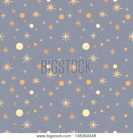 Pattern with stars on a grey speckled background. Winter vector seamless pattern.