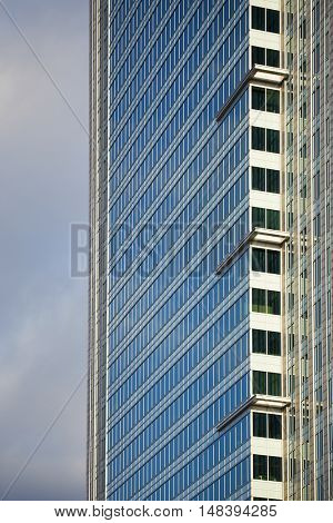 Golden office buildings against the sky