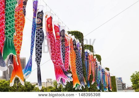 Japanese koinobori flags for Children's day on blue sky background