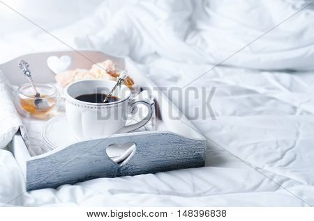 Wooden Tray With Coffee