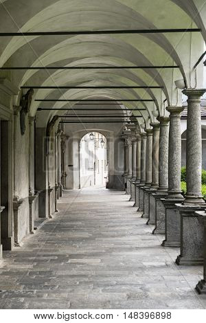 Chiavenna (Sondrio Lombardy Italy): cloister of the historic collegiata of San Lorenzo
