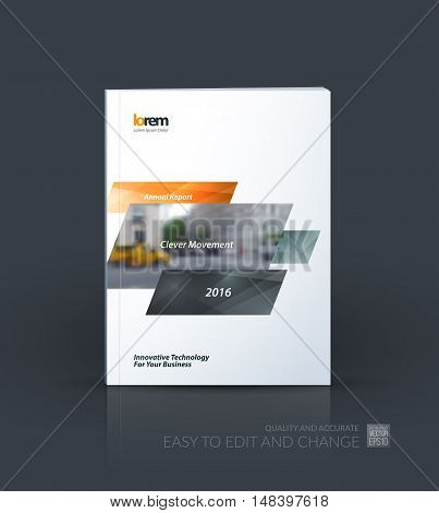 Brochure template layout, cover design annual report, magazine, flyer, leaflet in A4 with grey yellow dynamic rectangles with overlap effect for business and hi-tech. Creative vector art.