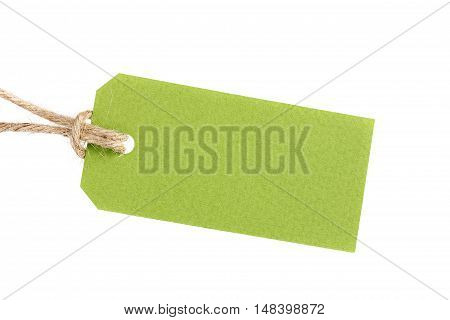 Price tag from recycled paper on twine cord isolated on white background. Shop or discount sale concept.