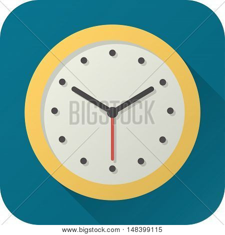 Vector illustration. Square shape icon in flat design. Toy analog clock in simple design with long shadow. Icon vector size 1024 corner radius 180