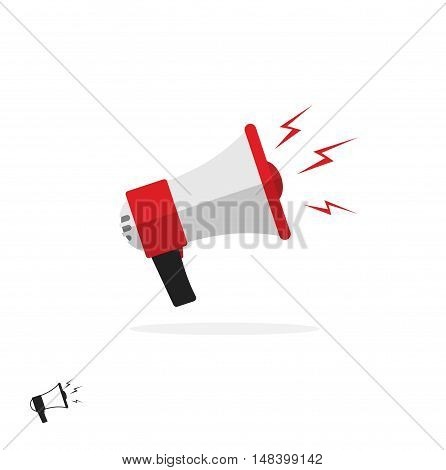 Megaphone icon isolated on white background, flat cartoon colorful bullhorn symbol, speaking trumpet illustration