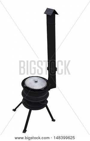 Big black grill to the cauldron with the pipe under the smoke on a white background