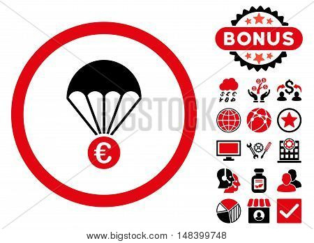 Euro Parachute icon with bonus symbols. Vector illustration style is flat iconic bicolor symbols, intensive red and black colors, white background.