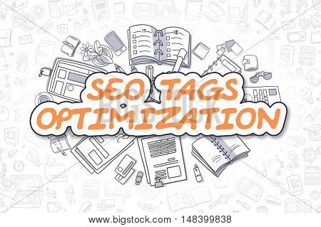 Business Illustration of SEO Tags Optimization. Doodle Orange Text Hand Drawn Cartoon Design Elements. SEO Tags Optimization Concept.