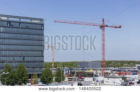 VIENNA, AUSTRIA - APRIL 30th 2016: Construction Crane at Vienna International Airport.