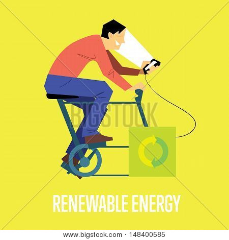 Renewable energy vector illustration. Man on bicycle with dynamo generates power for your smartphone. Charging station. Clean energy. Eco generation. Alternative technologies