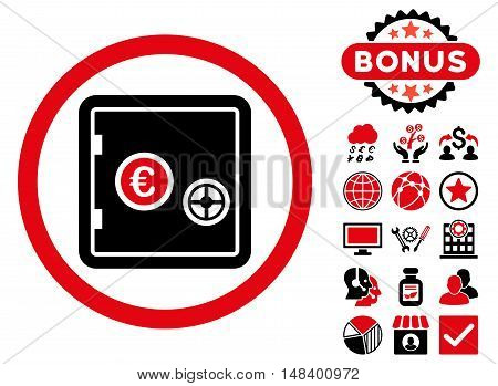Euro Safe icon with bonus images. Vector illustration style is flat iconic bicolor symbols, intensive red and black colors, white background.