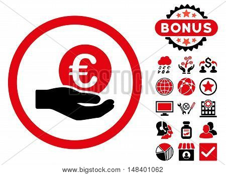 Euro Salary Hand icon with bonus images. Vector illustration style is flat iconic bicolor symbols, intensive red and black colors, white background.