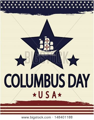 columbus day card or background. vector illustration.