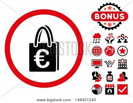 Euro Shopping Bag icon with bonus pictogram. Vector illustration style is flat iconic bicolor symbols, intensive red and black colors, white background.