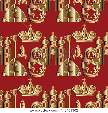 Modern red vector seamless pattern background illustration with decorative russian symbols, icons, doll, balalaika, cathedral. Russian seamless pattern.