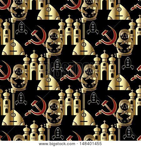 Black vector seamless pattern background illustration with red russian hammer and sickle,Russian nesting dolls, rocket ,shuttle,balalaika, russian church and ussr russian symbols