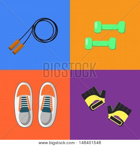 Vector illustration of gym sports equipment icons set. Skipping rope, sports shoes, dumbbells and gloves on color background. Healthy lifestyle. Athletic equipment. Different tools for sport.
