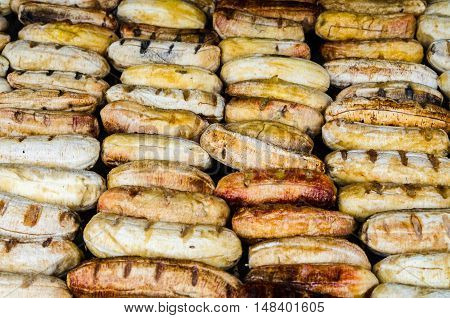 Grilled bananas on the stove in Thailand market