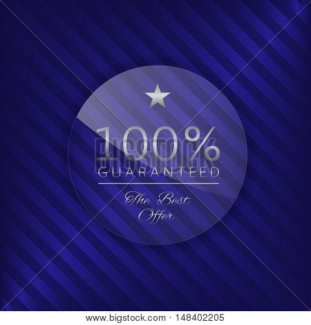 Guaranteed glass label. Glass badge with silver text, Luxury emblem