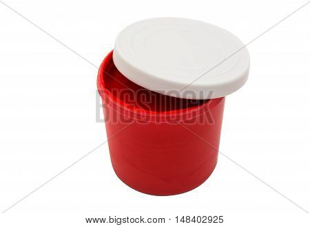 Watercolor paint in buckets isolated on white background. Art palette. Colorful paint. Gouache in the jar.