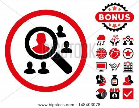 Explore Patients icon with bonus pictures. Vector illustration style is flat iconic bicolor symbols, intensive red and black colors, white background.