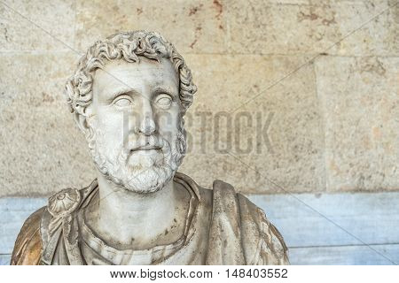 statue of Roman emperor Antoninus Pius inside the Stoa of Attalos in Athens