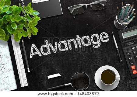 Advantage Concept on Black Chalkboard. 3d Rendering. Toned Image.