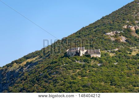 Ruins of the Fort Mollinary (Forte di Monte) fortress built by the Austrians (1849-1852) in the border protection over the Val d'Adige
