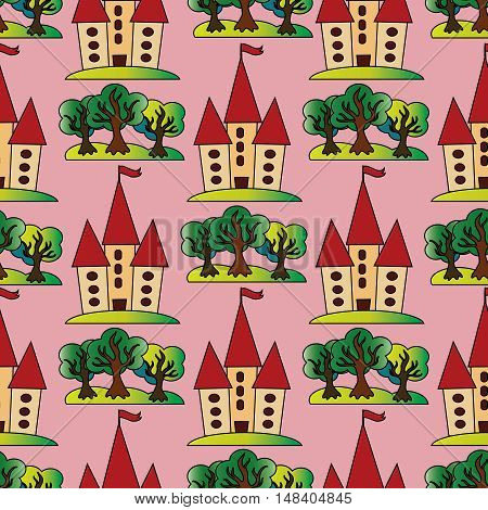Light pink vector seamless pattern background illustration with colorful fairytale castle and green trees.