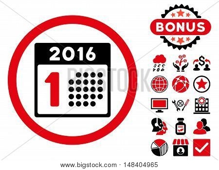 First 2016 Day icon with bonus symbols. Vector illustration style is flat iconic bicolor symbols, intensive red and black colors, white background.