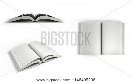 Collection Of Open White Books 3D Render On White Background