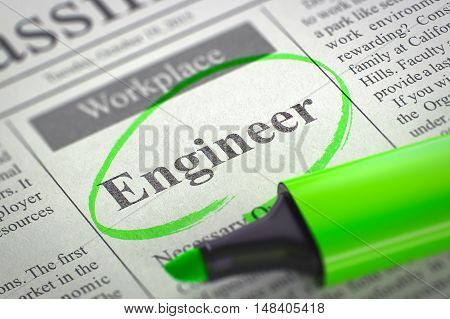 Engineer - Vacancy in Newspaper, Circled with a Green Highlighter. Blurred Image. Selective focus. Concept of Recruitment. 3D Rendering.