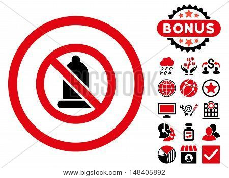 Forbidden Condom icon with bonus design elements. Vector illustration style is flat iconic bicolor symbols, intensive red and black colors, white background.
