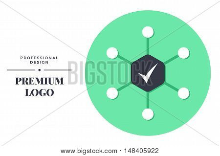 Modern color icon design. Complex approach vector round sign template for web page or logo