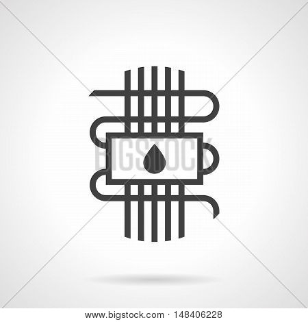 Symbol of hydronic or water warm floor - panel with drop sign and pipeline. Technology for house heating system. Construction and improvements services. Monochrome black flat design vector icon.
