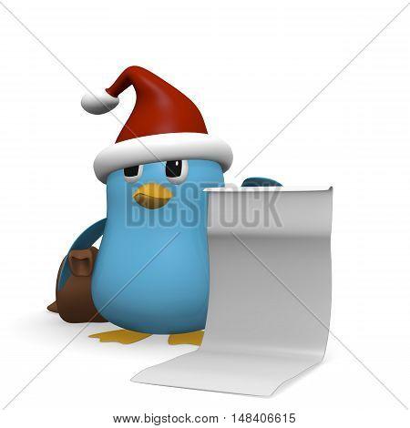 Blue bird holding a wishlist 3d rendering
