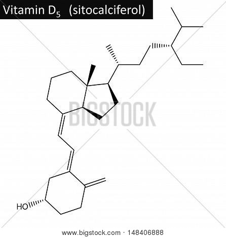 Molecular structure of sitocalciferol (vitamin D5). The compound is form of vitamin D