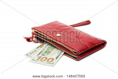 Woman red purse (wallet) isolated on the white background