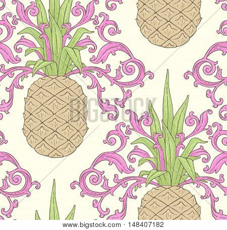 Colorful Seamless Pattern With Pineapple.eps