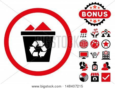 Full Recycle Bin icon with bonus symbols. Vector illustration style is flat iconic bicolor symbols, intensive red and black colors, white background.
