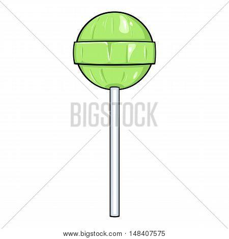 Vector Single Cartoon Green Round Lolipop