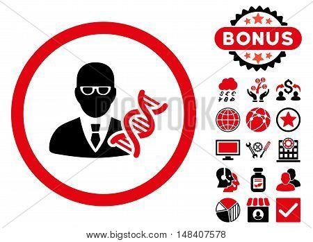Genetic Engineer icon with bonus pictures. Vector illustration style is flat iconic bicolor symbols, intensive red and black colors, white background.