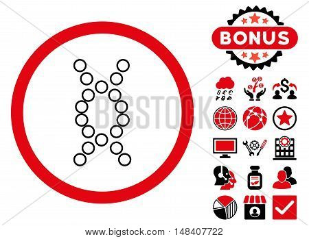 Genome icon with bonus pictogram. Vector illustration style is flat iconic bicolor symbols, intensive red and black colors, white background.