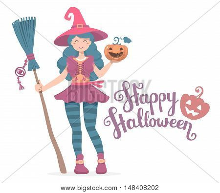 Vector Colorful Halloween Illustration Of Witch Character With Broom, Hat, Pumpkin Wishes Happy Hall