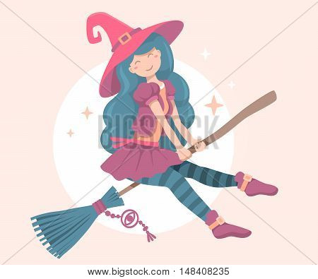 Vector Colorful Halloween Illustration Of Witch Character With Hat Flying On A Broomstick On The Moo