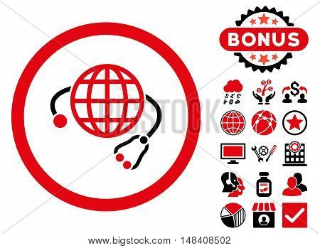 Global Medicine icon with bonus symbols. Vector illustration style is flat iconic bicolor symbols, intensive red and black colors, white background.
