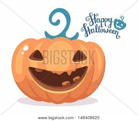 Vector Halloween Illustration Of Decorative Orange Pumpkin With Eyes, Smiles, Teeth And Text Happy H