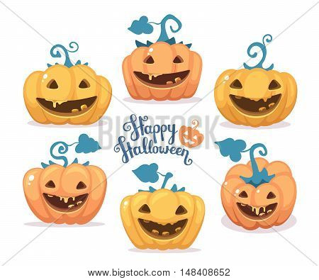 Vector Halloween Illustration Of Collection Decorative Orange And Yellow Pumpkins With Eyes, Smiles,
