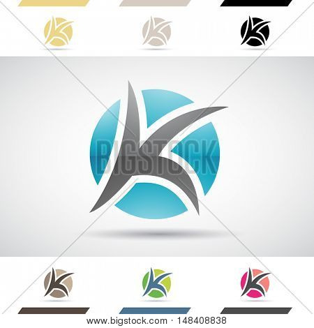 Design Concept of Colorful Stock Icons and Shapes of Letter K, Illustration